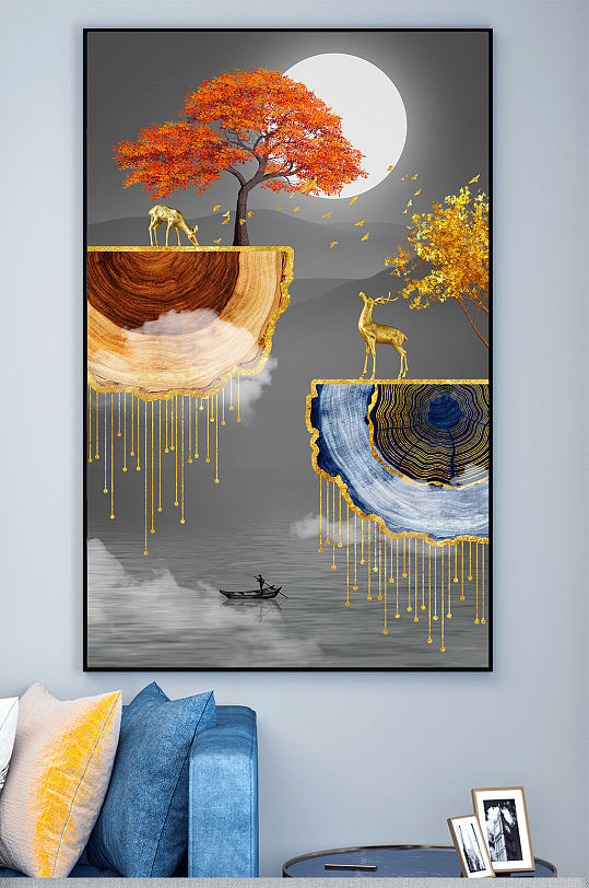 新中式抽象年轮玄关装饰画-众图网