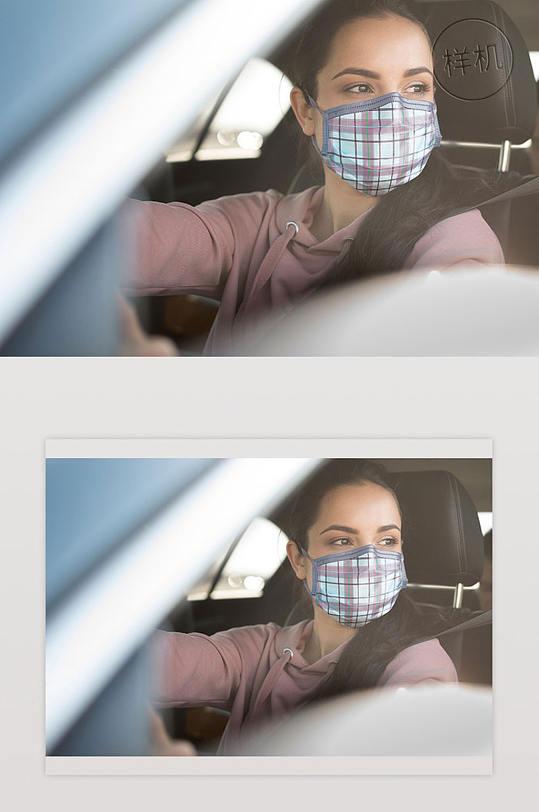 特写年轻女子戴无面罩屏蔽门-众图网
