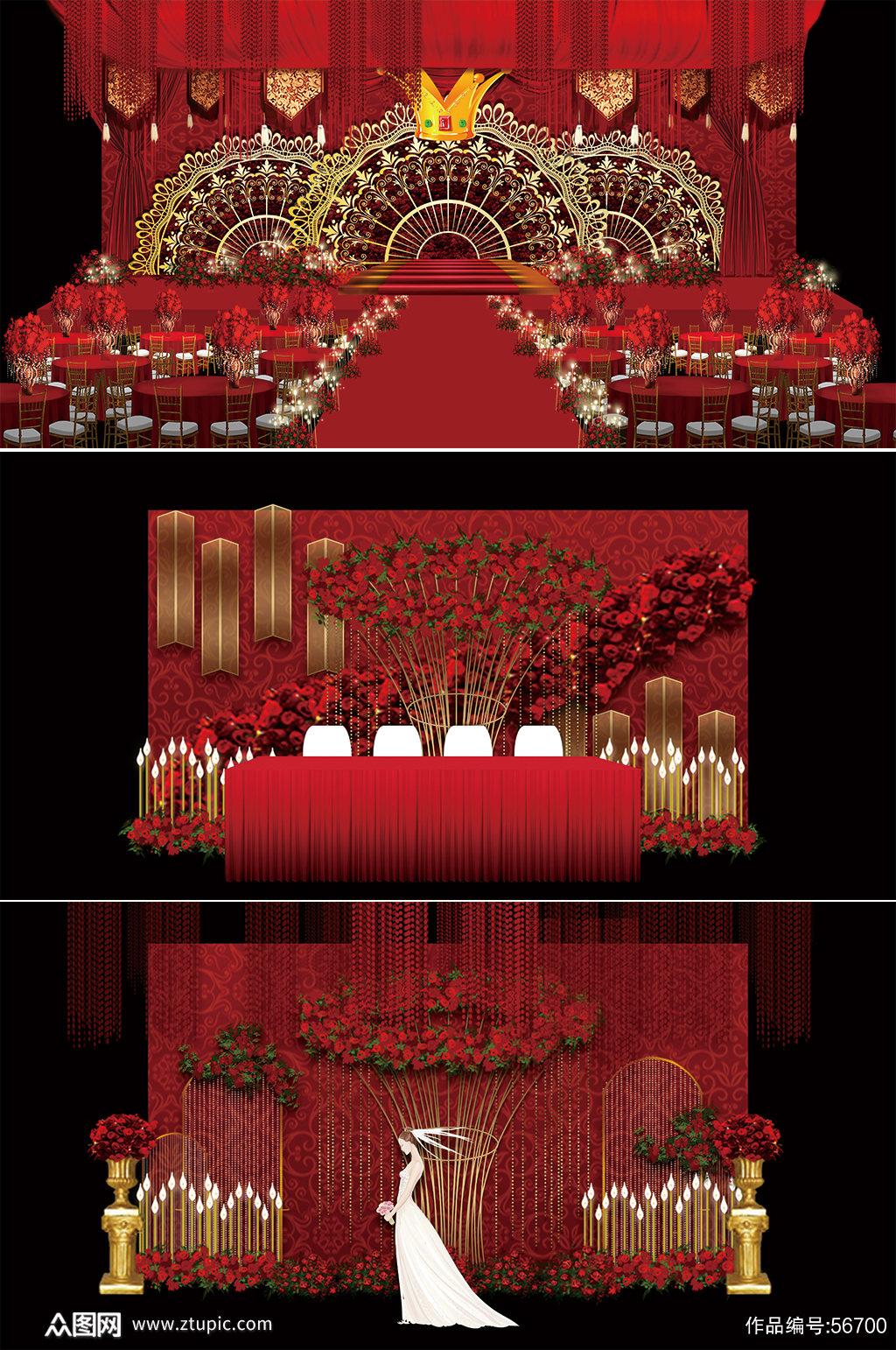 红色婚礼 香槟色婚礼素材
