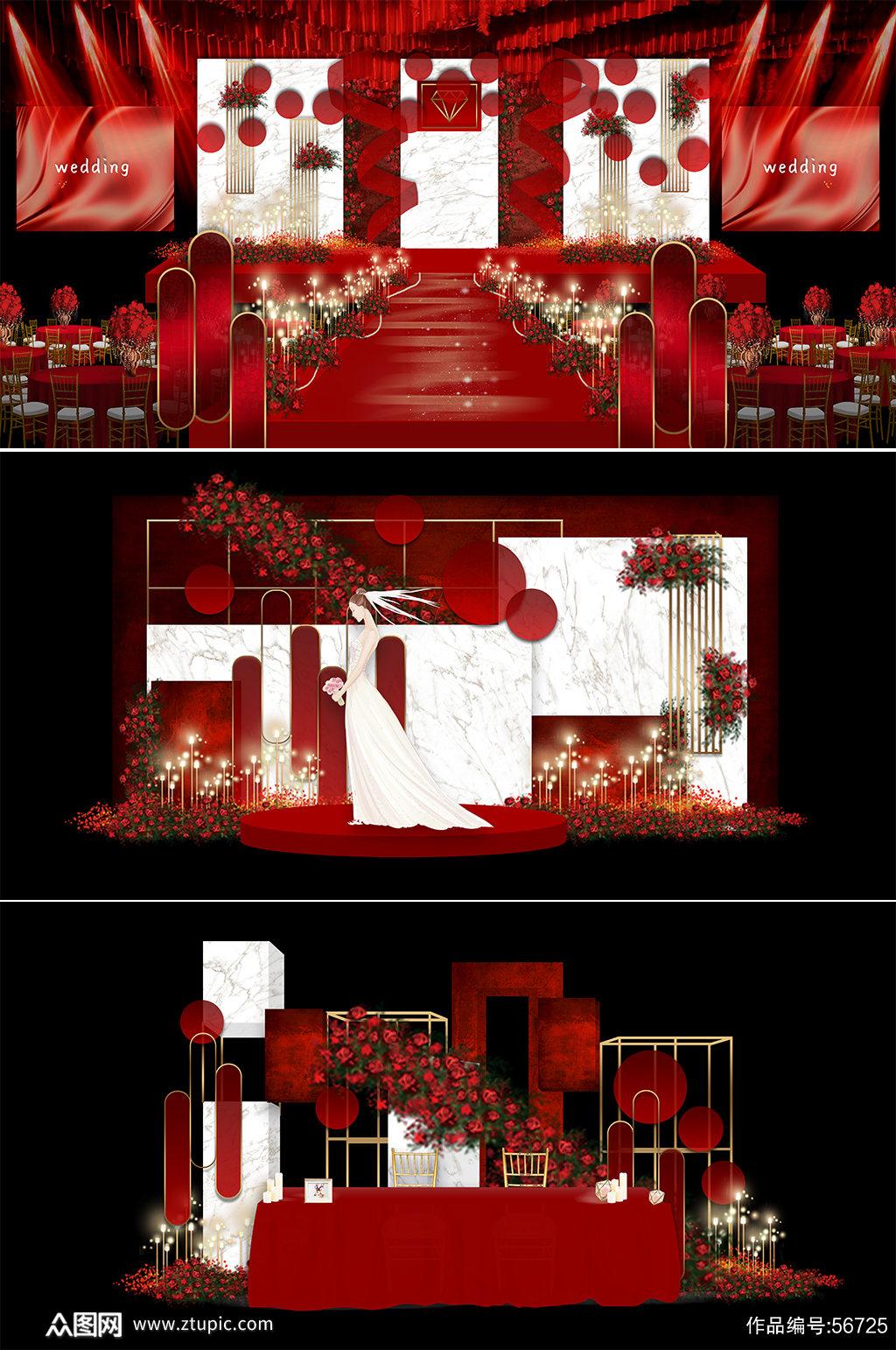 红色系婚礼 红色纹理婚礼素材