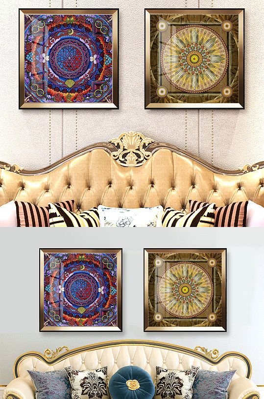 欧式古典花纹印花装饰画-众图网