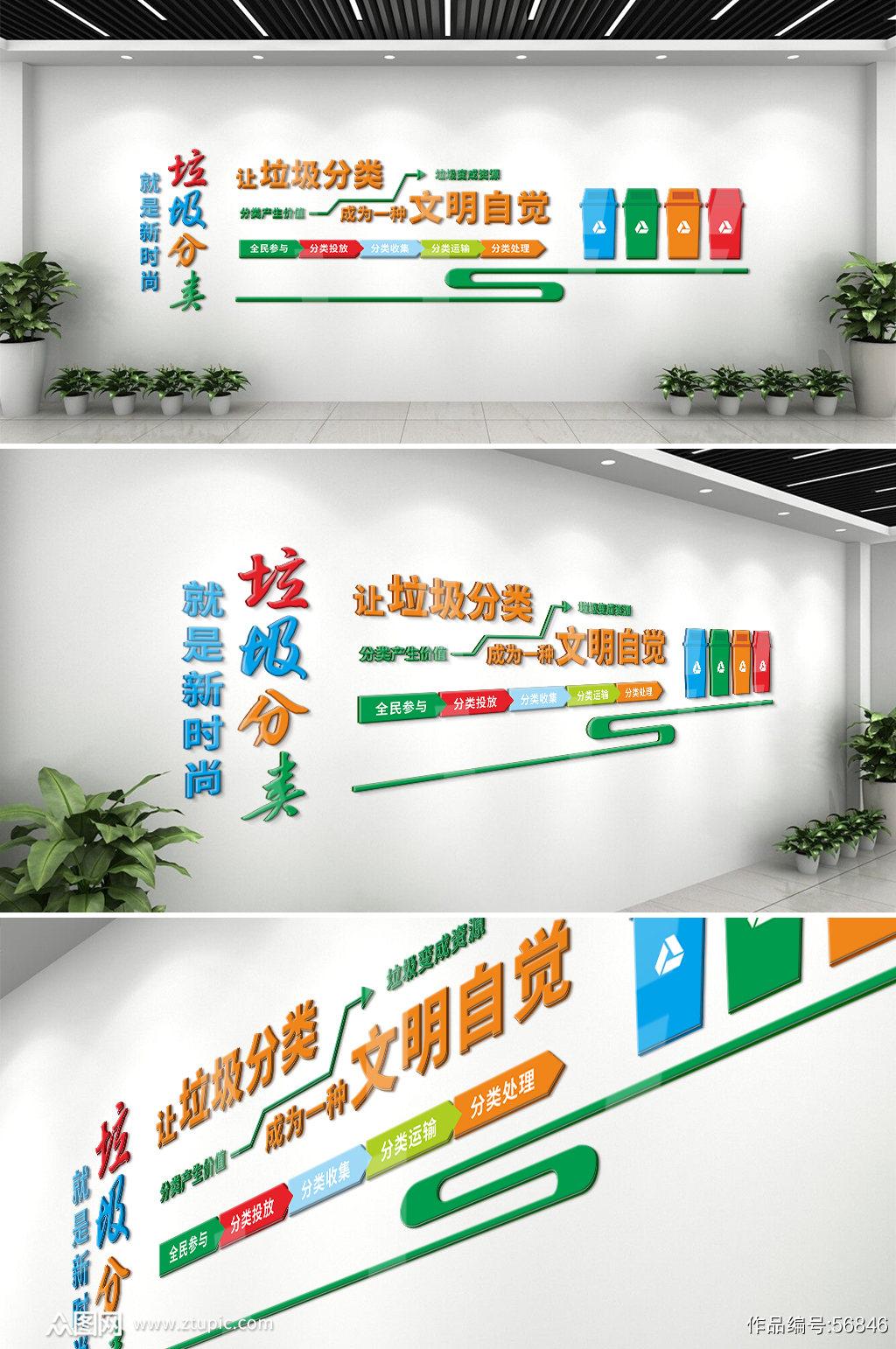 环保工程垃圾分类文化墙素材