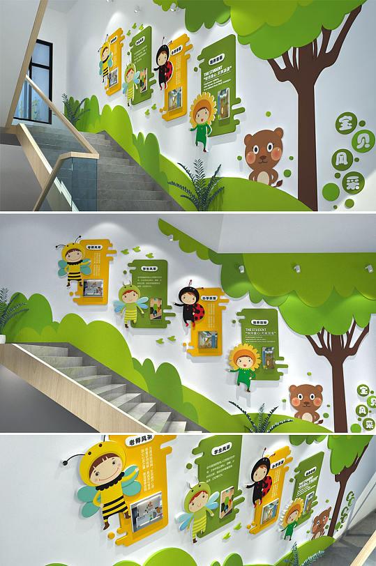 清新卡通动物幼儿园环创楼道楼梯文化墙-众图网