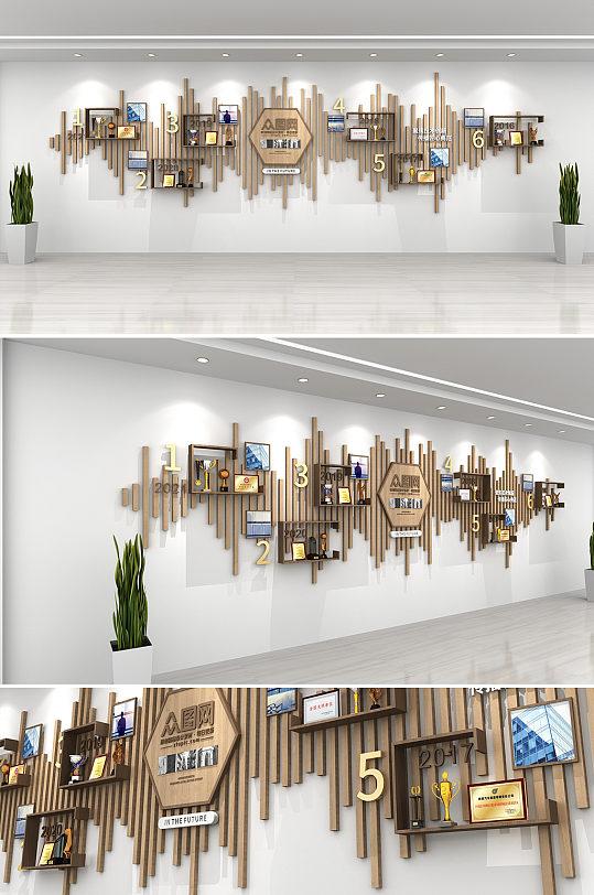 中式木纹企业公司荣誉奖项墙文化墙-众图网