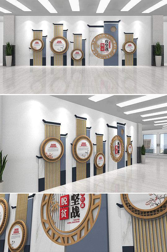 中式房屋打赢脱贫攻坚战精准扶贫党建文化墙-众图网
