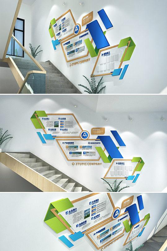 简约木框企业楼道楼梯文化墙框架优秀员工照片墙-众图网