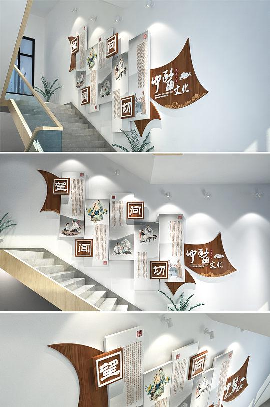水墨中国风中医医院诊所 楼梯文化墙设计布置模板