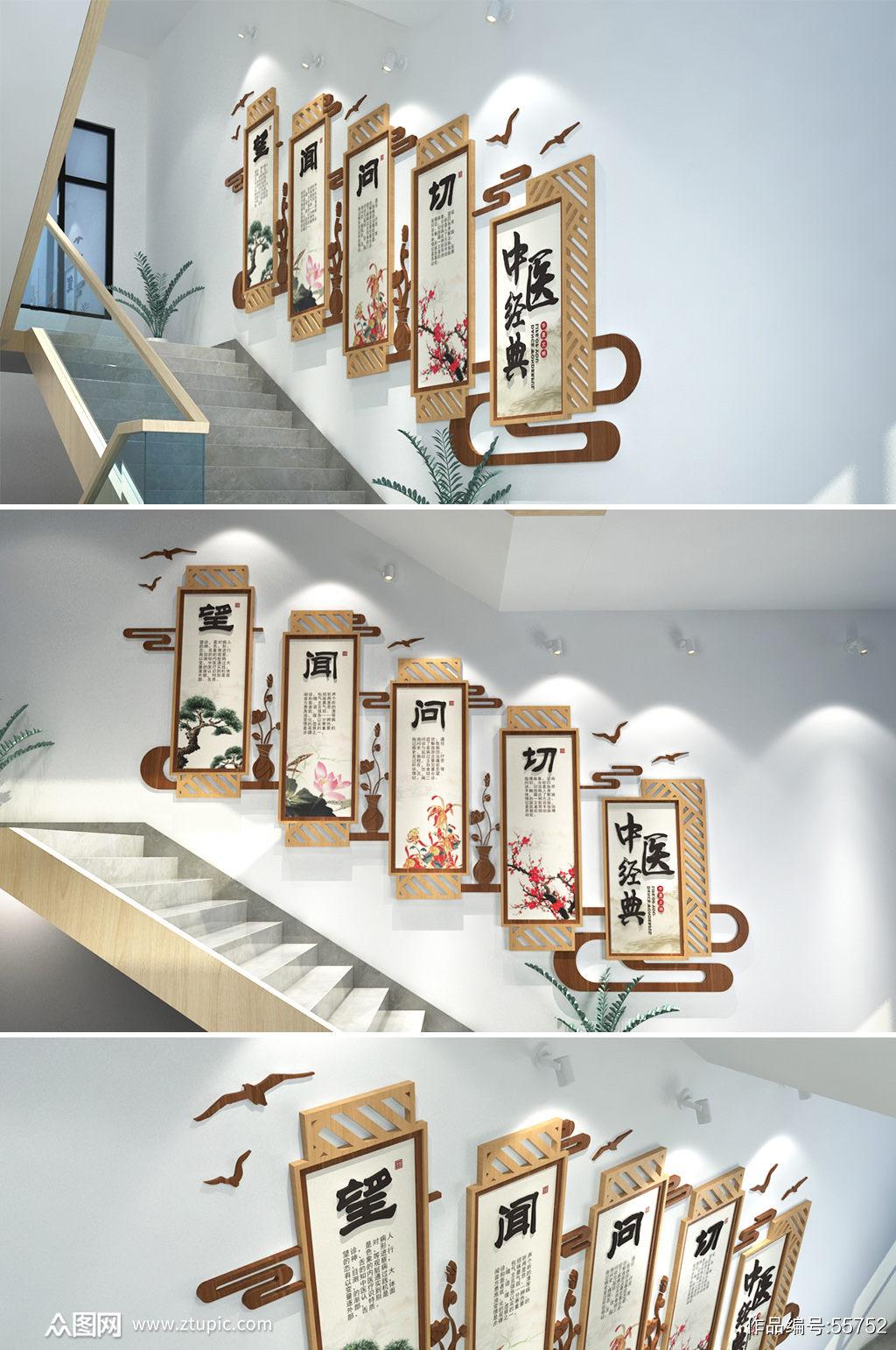 中医经典医院诊所 楼梯文化墙创意设计图片素材