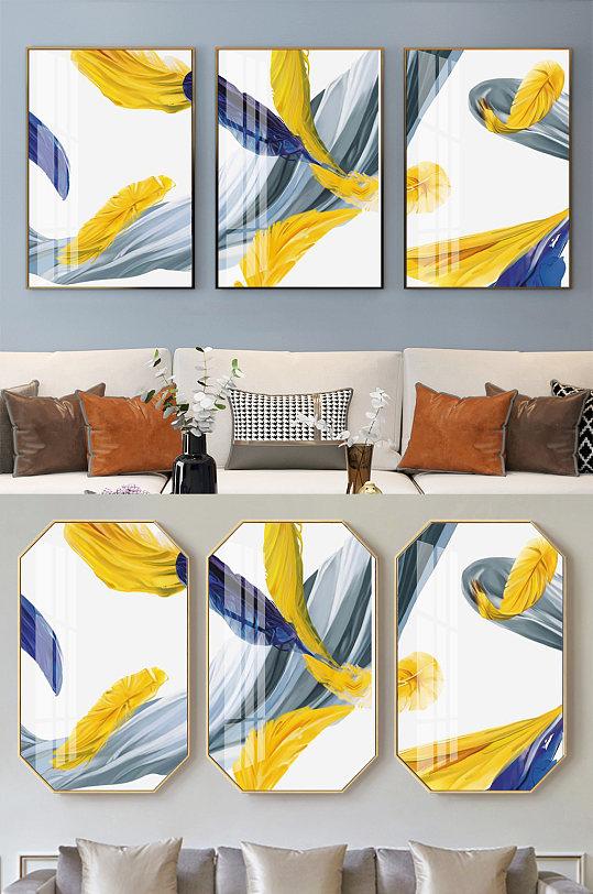 轻奢金色线条三联装饰画-众图网