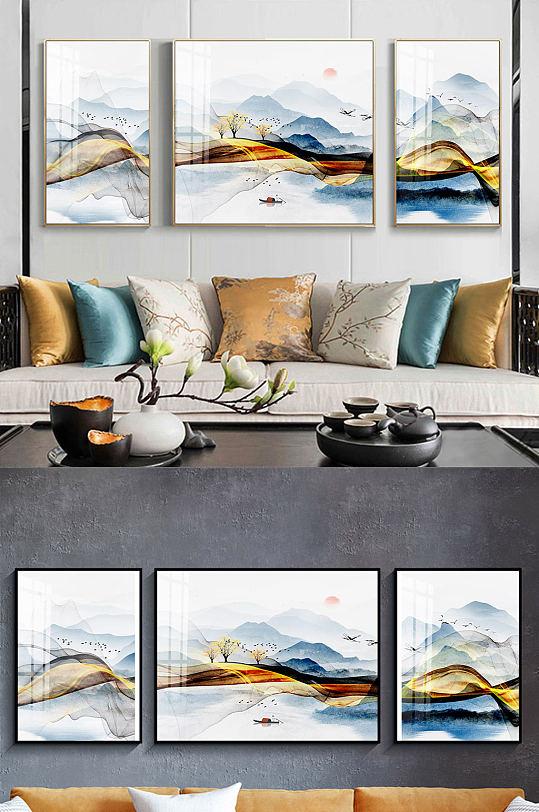 新中式意境山水三联装饰画-众图网
