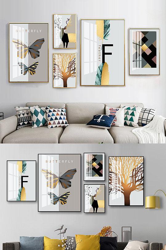 几何森林风景麋鹿装饰画-众图网