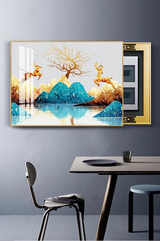 金色山水金箔麋鹿电表箱-众图网