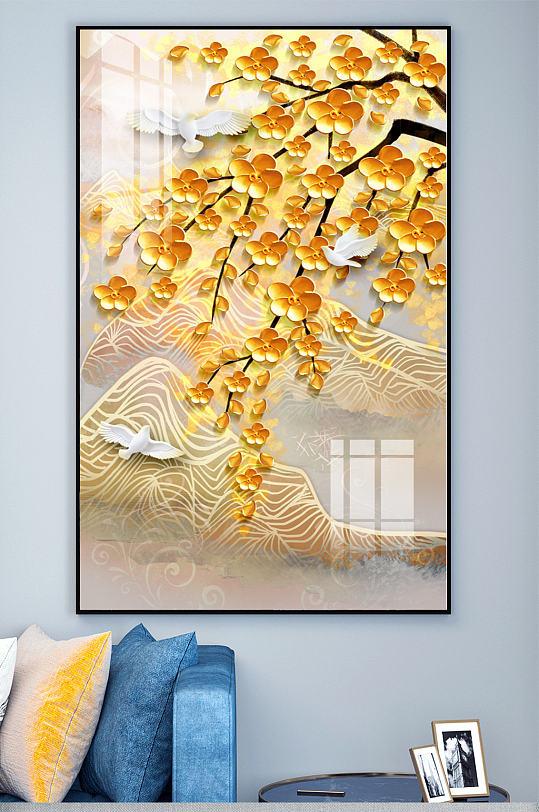 新中式发财树玄关装饰画-众图网