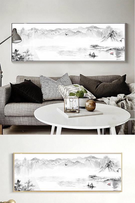 中国风水墨海纳百川山水画沙发背景墙装饰画