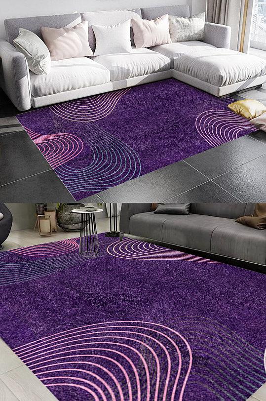 紫色纯色线条风格地毯图案-众图网