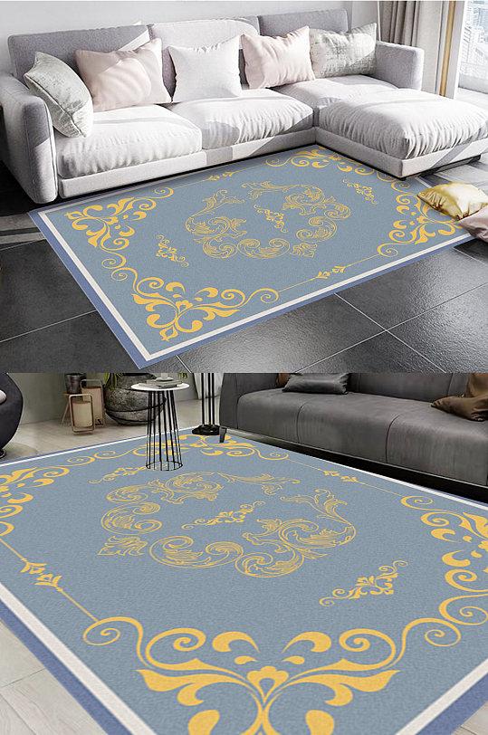 蓝色大气高端风格地毯图案-众图网