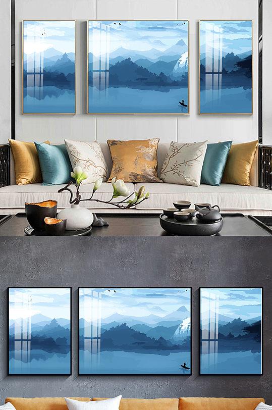 新中式轻奢水墨山水装饰三联画-众图网