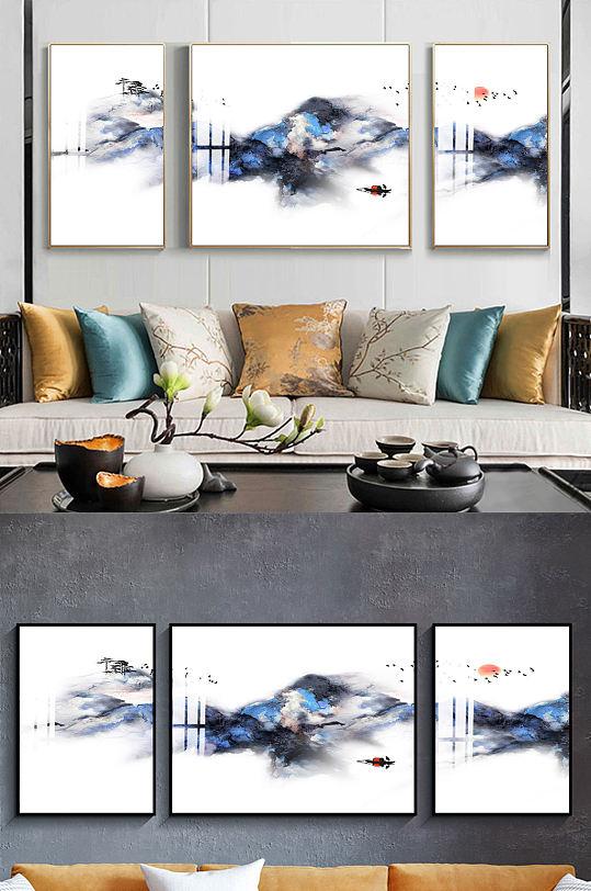 新中式简约山水渔船装饰画-众图网