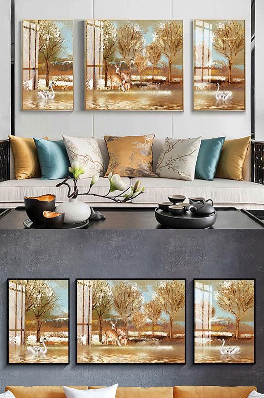 新中式金色麋鹿三联装饰画-众图网