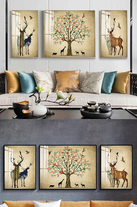 北欧麋鹿新中式三联装饰画-众图网
