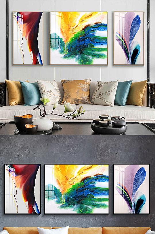 新中式水墨油彩三联装饰画-众图网