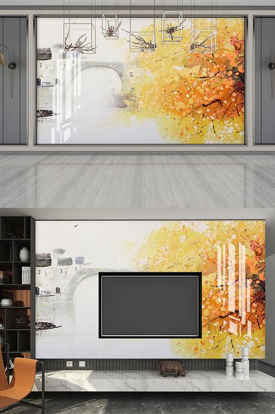 背景墙轻奢山水水墨画-众图网