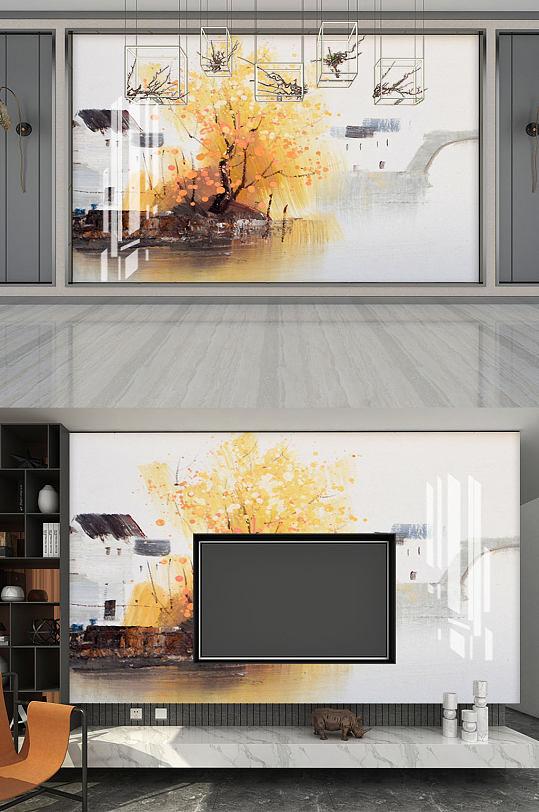 中式意境山水背景墙水墨画-众图网