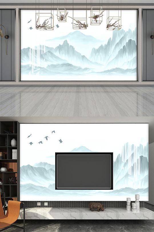 青山绿水飞鸟水墨画-众图网