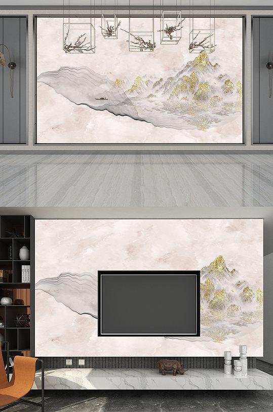 背景墙山水大理石金色纹路-众图网