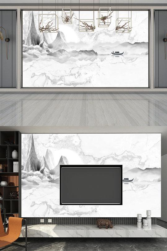 灰色高清背景墙大理石纹风格意境山水-众图网