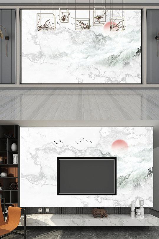 灰色高清云海日出背景墙大理石纹路背景墙-众图网