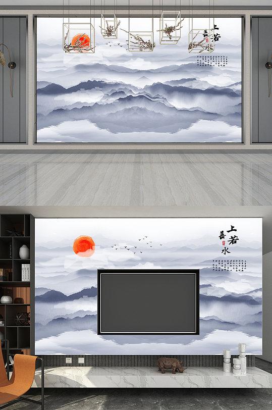 背景墙上善若水水墨画-众图网