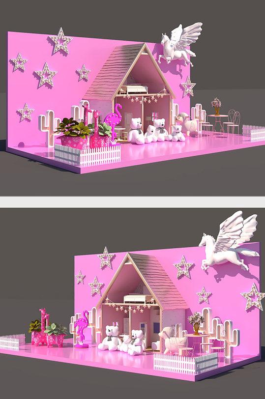 商场粉色网红拍照点美陈设计-众图网