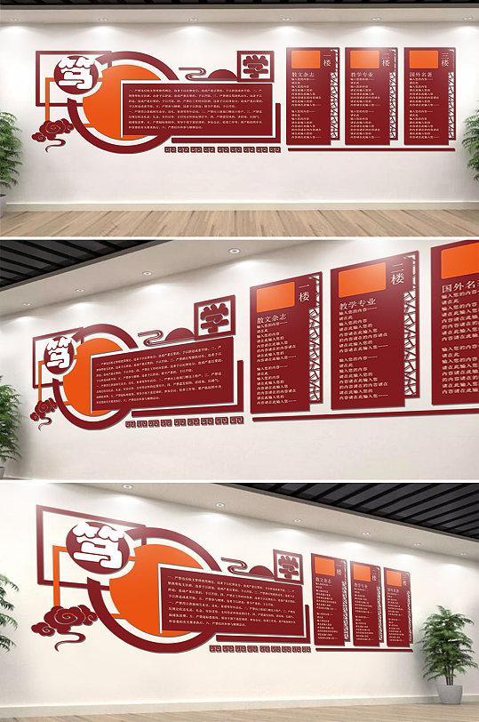 笃学校园文化墙图书室-众图网