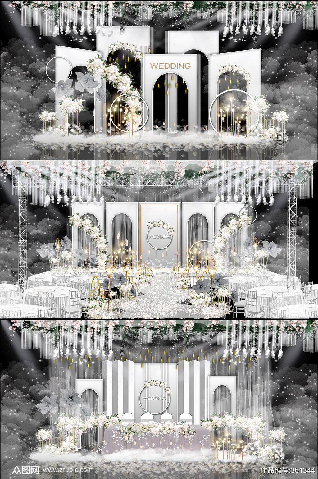 白色现代高级婚庆婚礼布置图素材