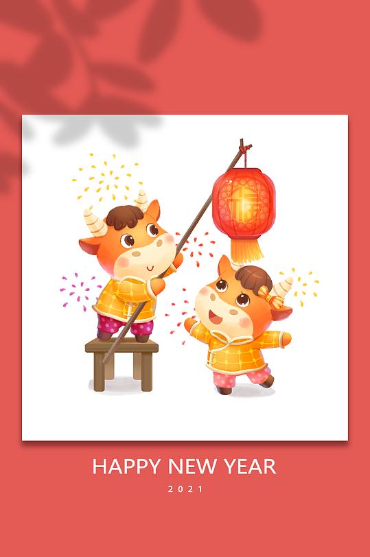 2021年新春花灯牛年新年卡通插画-众图网