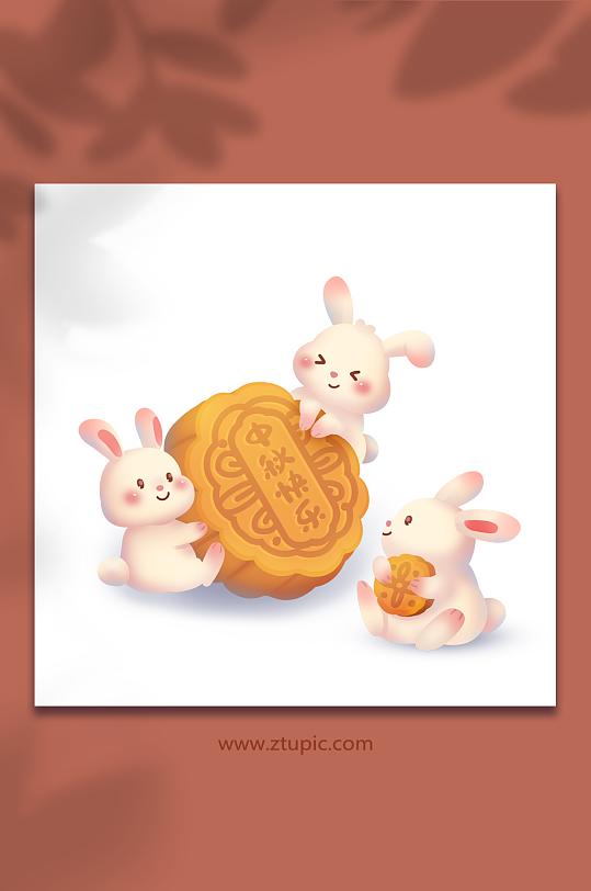 中秋节兔子吃月饼原创插画