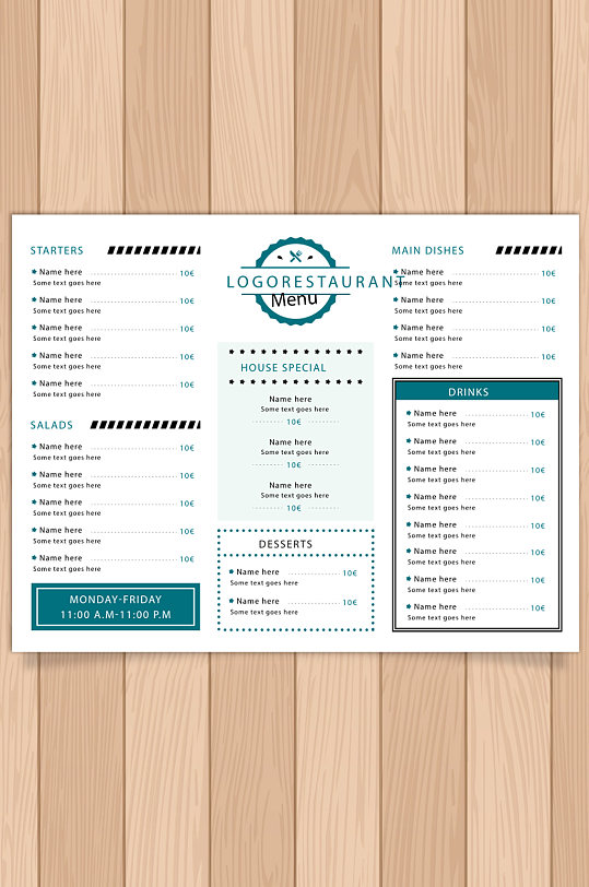 餐厅菜单三折页设计图片-众图网