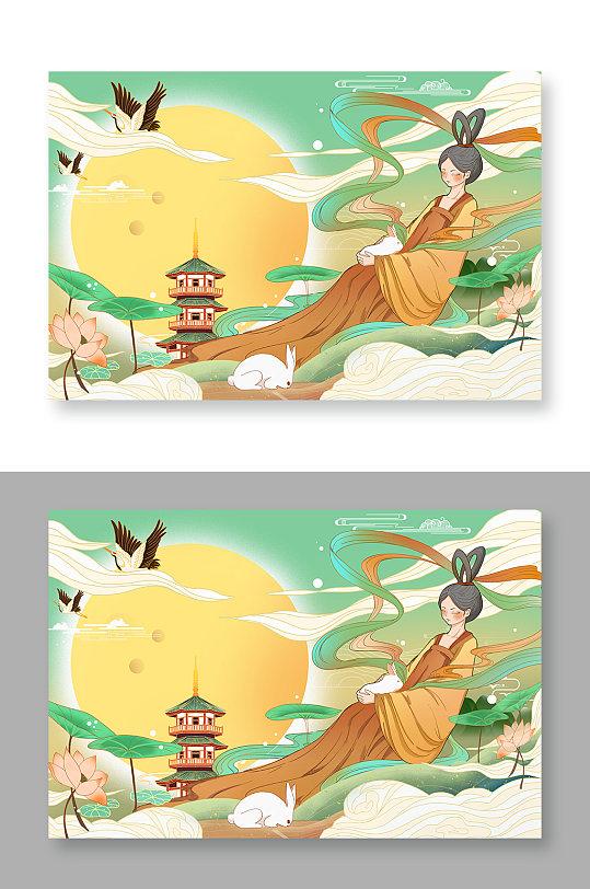中国风国潮风中秋节嫦娥奔月插画
