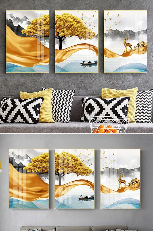 新中式水墨山水麋鹿装饰画-众图网