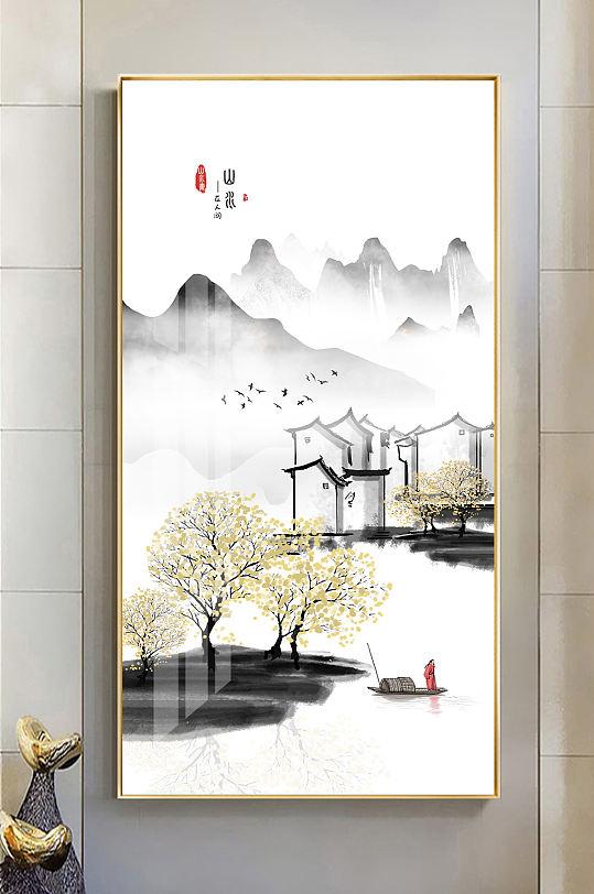 新中式水墨山水意境玄关画-众图网