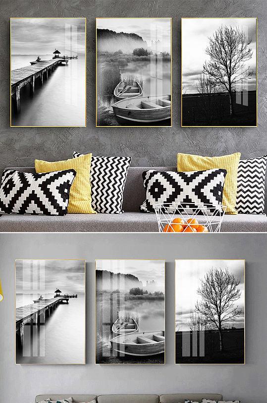 现代简约黑白风景装饰画-众图网