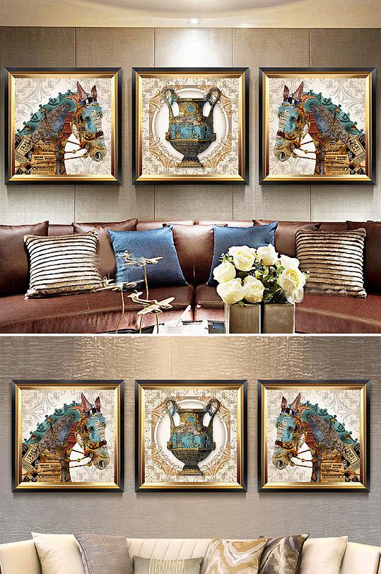 北欧抽象骏马花瓶装饰画-众图网