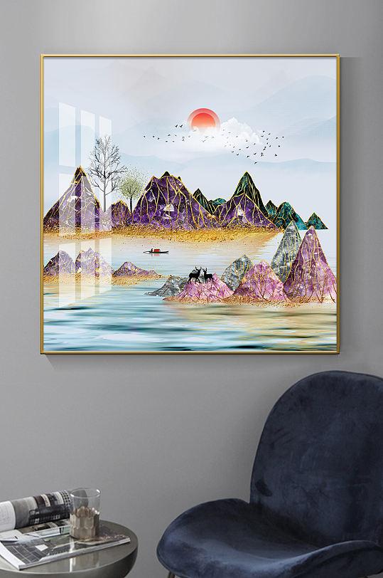 新中式珐琅彩山水装饰画-众图网