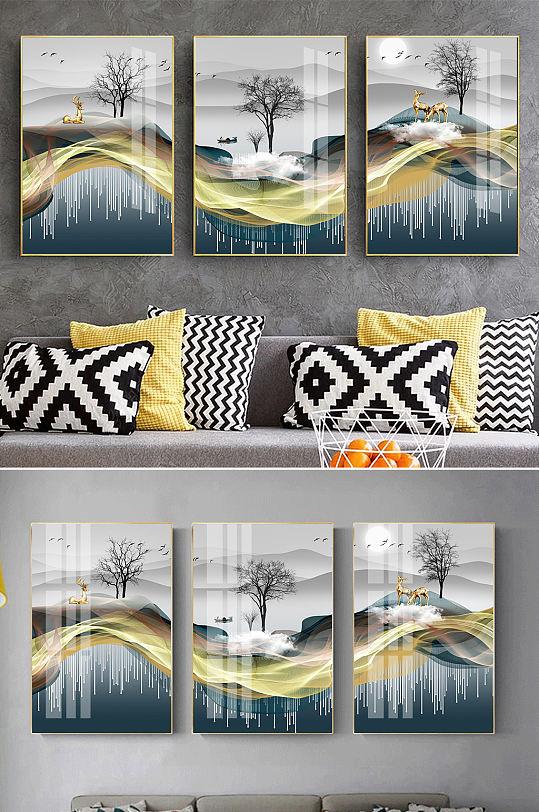 新中式山水线条麋鹿装饰画-众图网