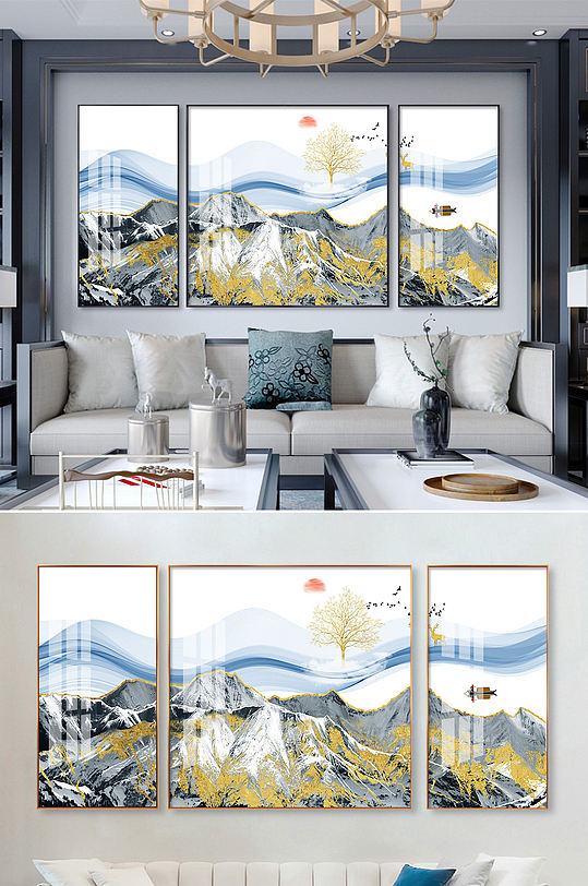 新中式金色山水线条装饰画-众图网