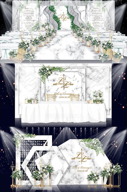白色欧式轻奢大理石婚庆婚礼布置图