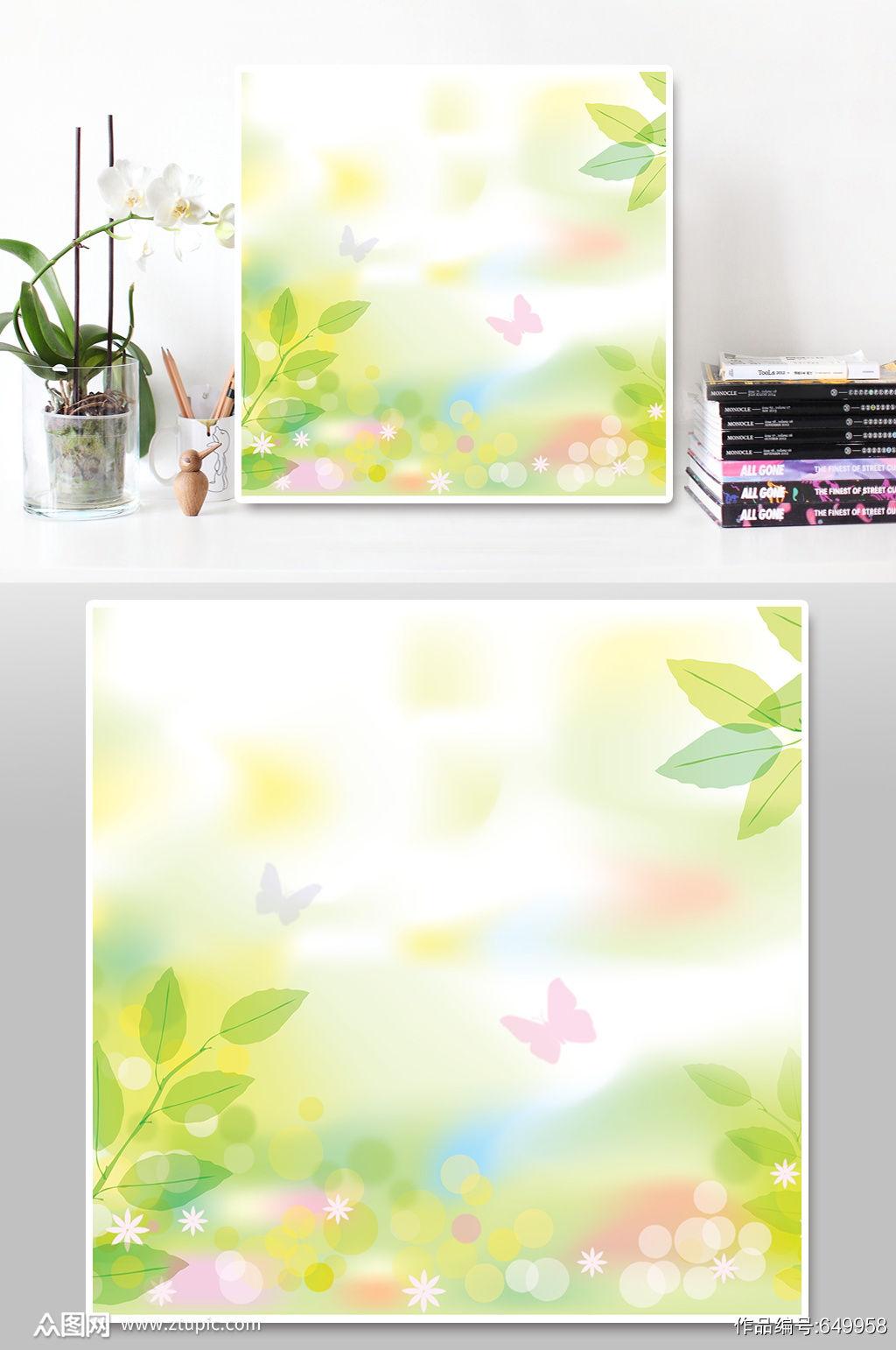 春季清新水彩绿色植物背景素材