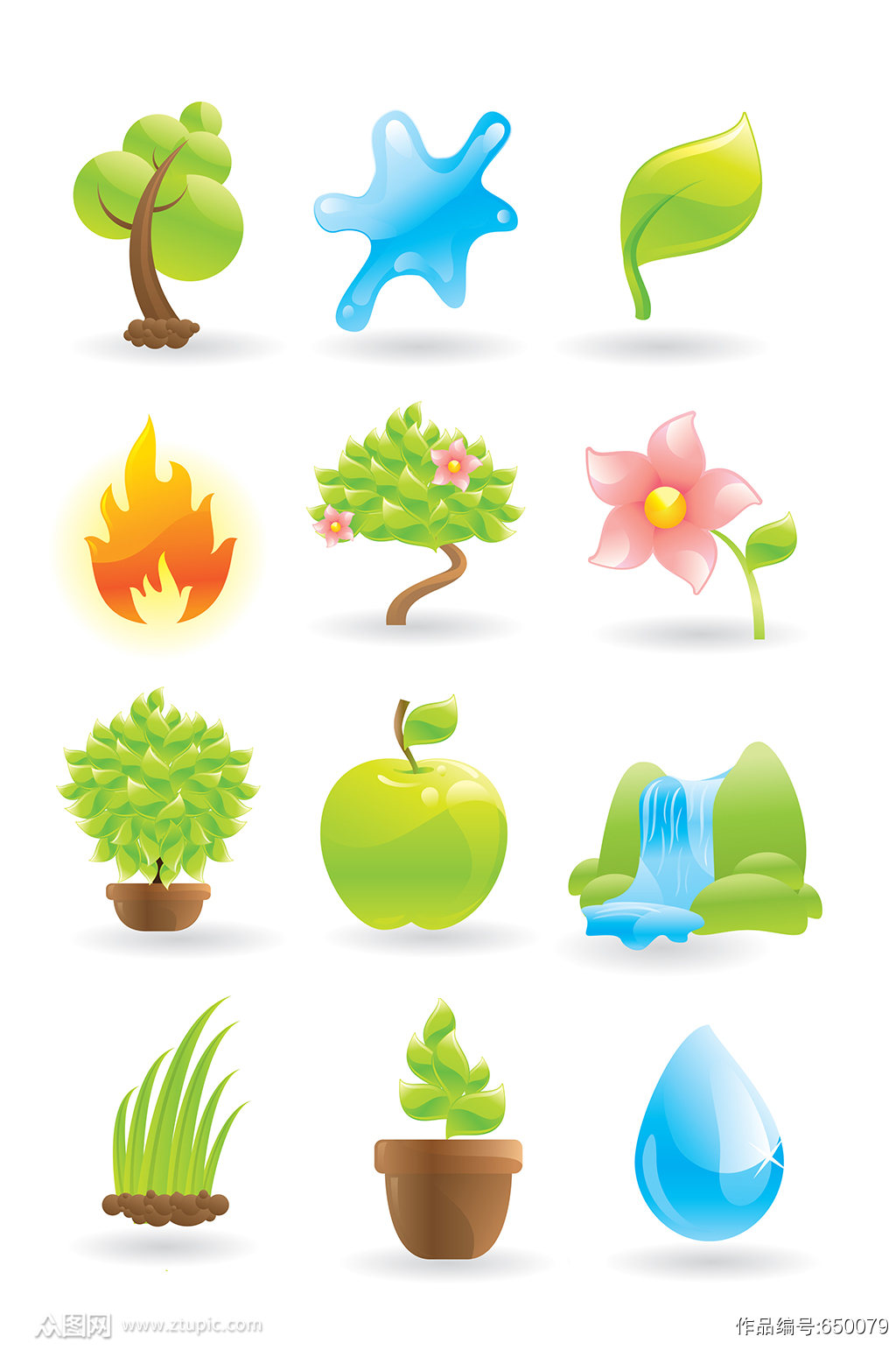 绿色环保植物素材图标素材