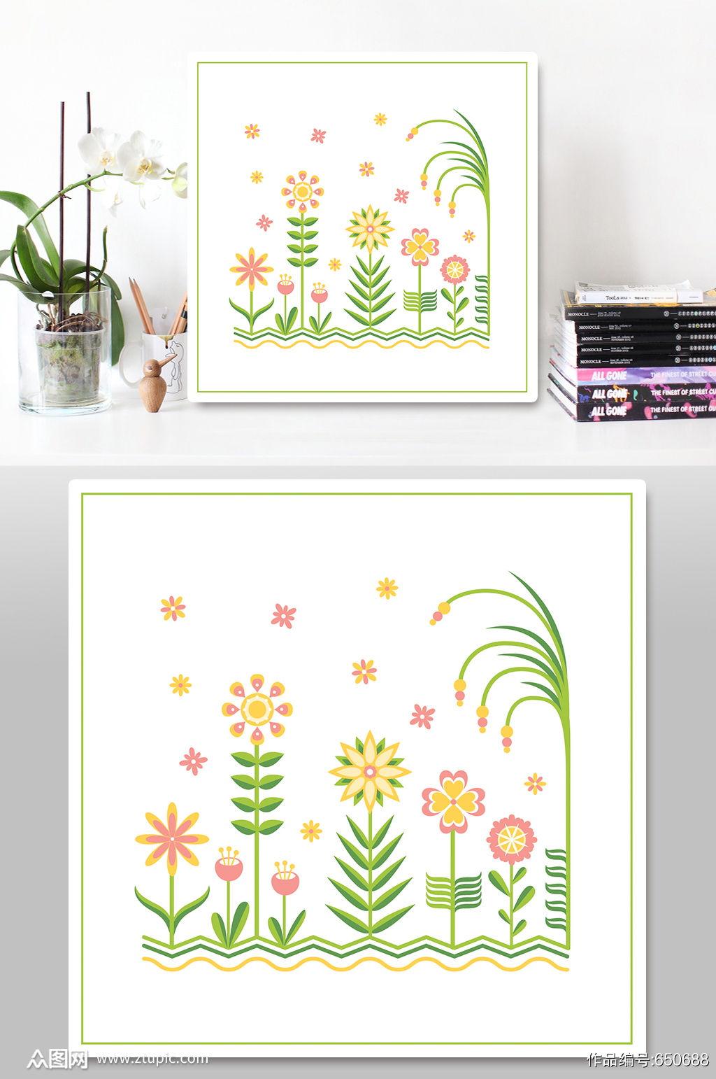 水彩花卉装饰植物元素素材